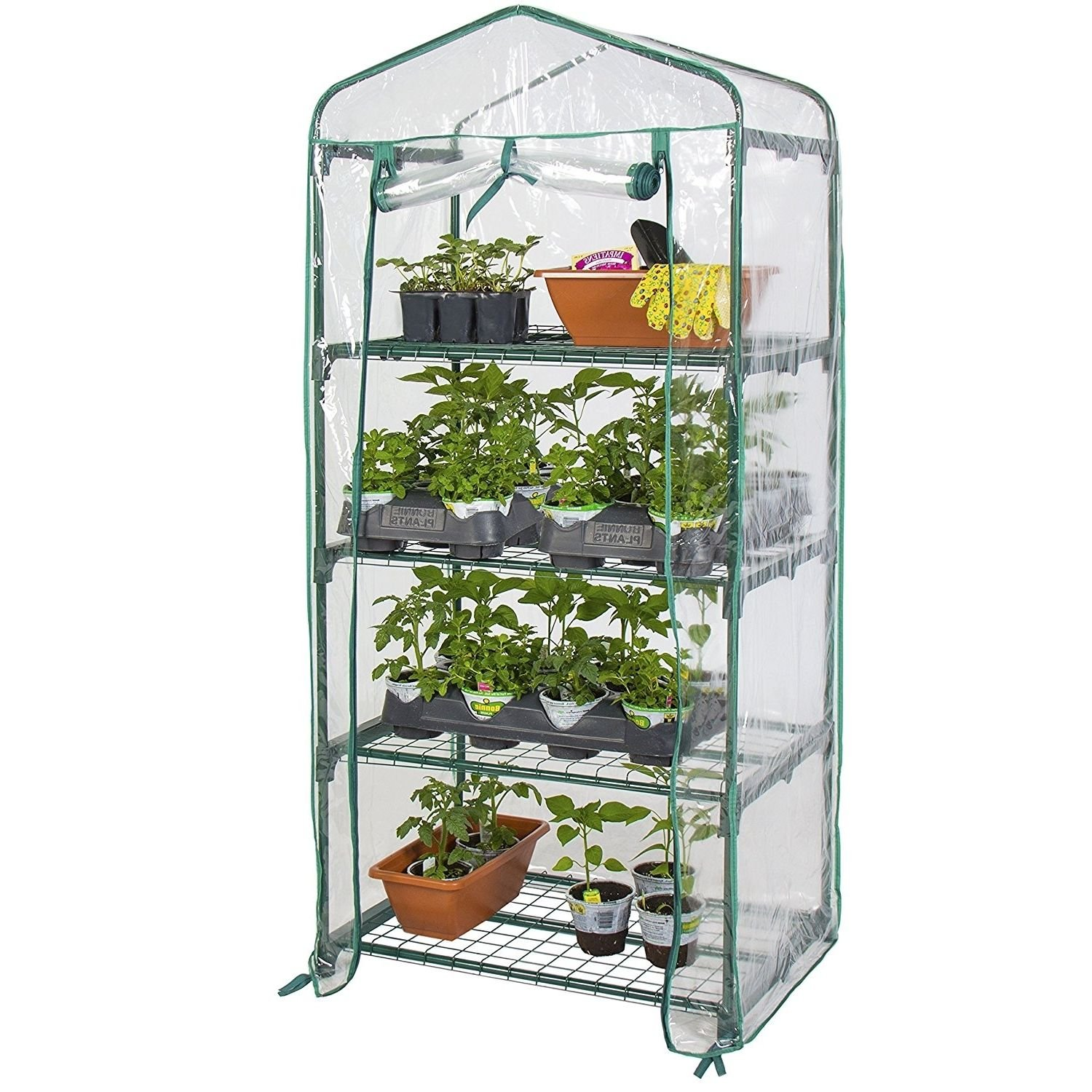 Greenhouses Kits 4Tier Indoor Small Green House For Plants With Clear PVC Cover 27''x 18''x 63''