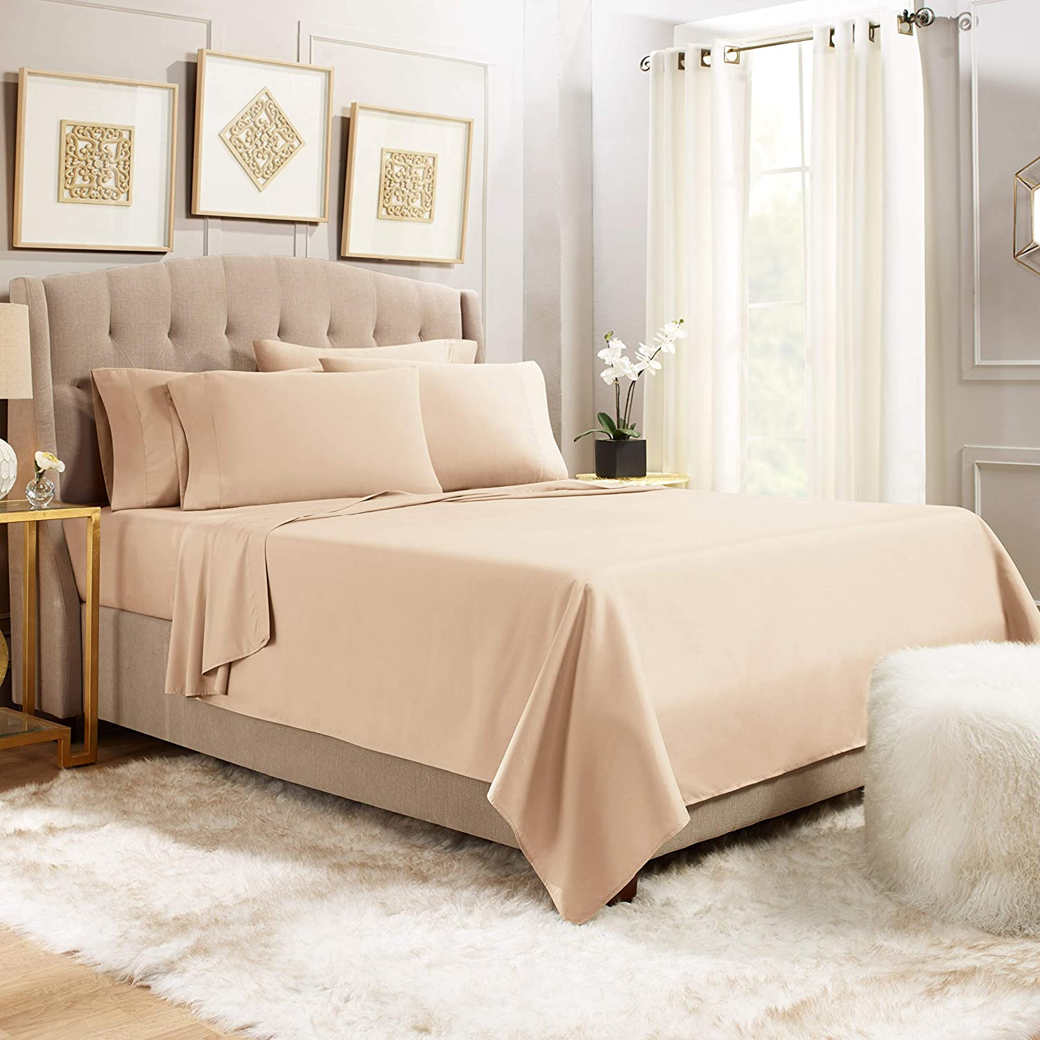 Empyrean Stronger Bed Sheet Set – Holds Longer 110 GSM Heavyweight - Luxury Soft Double Brushed Microfiber – 6 Piece Sheets with 4 Pillowcases – Tight Fit Straps Fitted Sheet – King Size, Taupe Sand