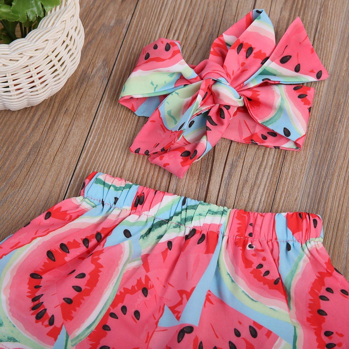3pcs Baby Girl Watermelon Off Shoulder Lotus Ruffle Romper+Short Pants+Headband Outfit