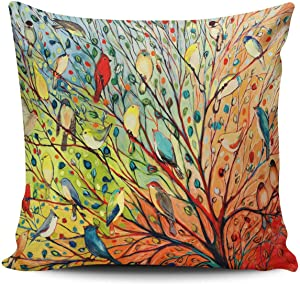 KEIBIKE Personalized Abstract Trees and Birds Square Decorative Pillowcases Print Zippered Throw Pillow Covers Cases 20x20 Inches One Sided