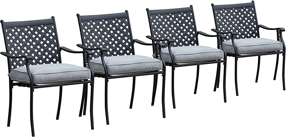 Amazon Com Lokatse Home 4 Piece Outdoor Patio Metal Wrought Iron Dining Chair Set With Arms And Seat Cushions Grey Garden Outdoor