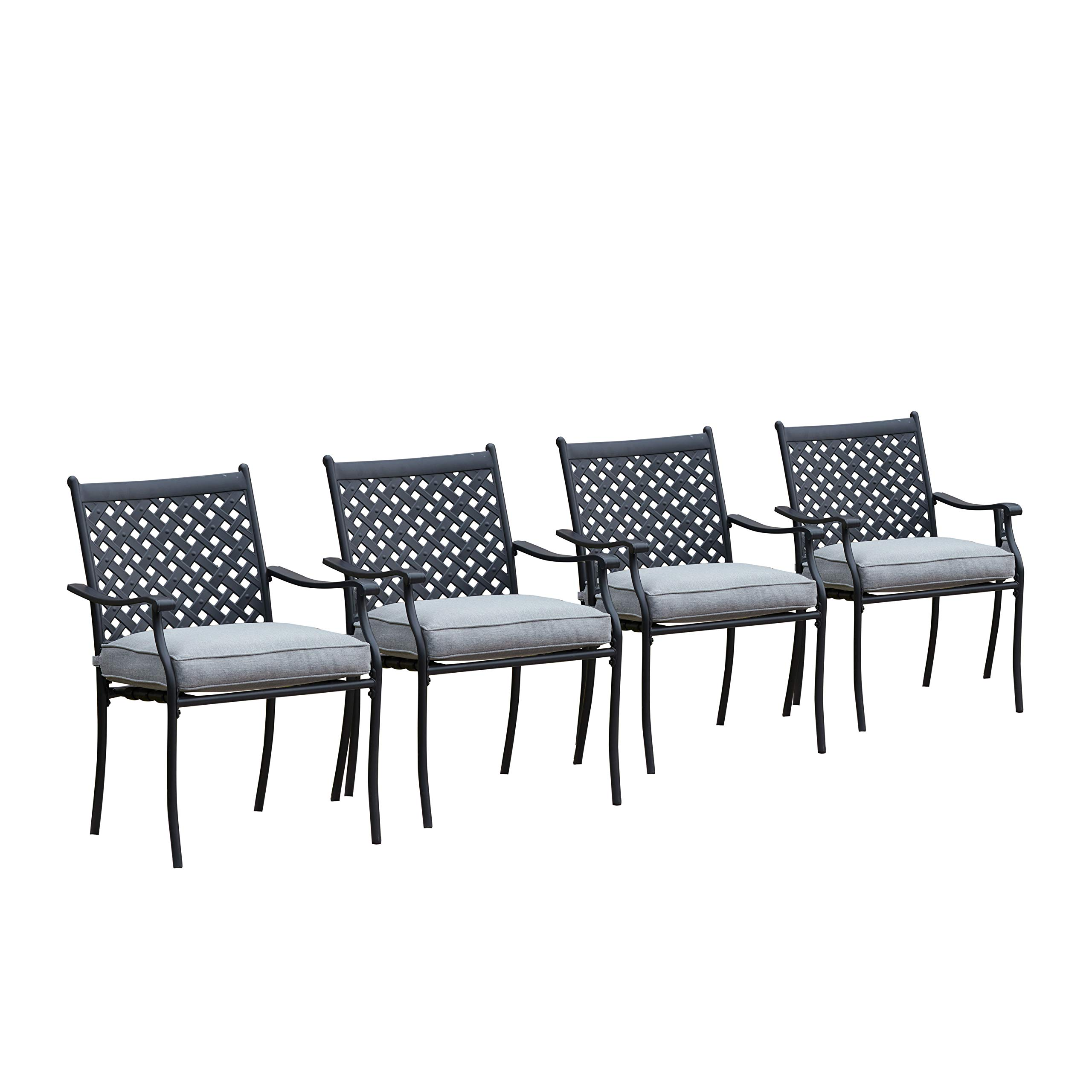 LOKATSE HOME 4 Piece Outdoor Patio Metal Wrought Iron Dining Chair Set with Arms and Seat Cushions - Grey