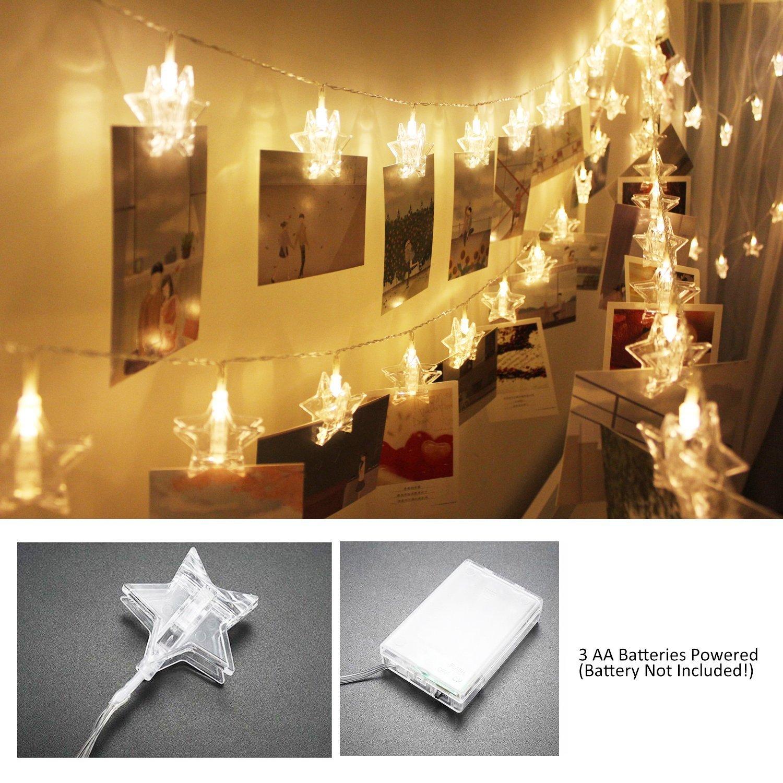 40 LEDs Foto Clips Lichterketten Warmweiß, SiFar 6.6M 3 Modi Fotolichterkette Mit Batteriebetriebene, Für Foto Memos, Kunstwerke, Party, Weihnachten, Dekoration,Hochzeit Für Foto Memos