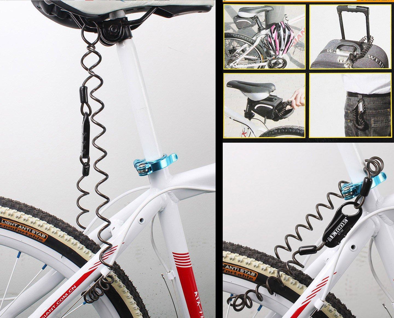 BestFire ET-152 Mini Portable Anti-robo Resettable 3 d/ígitos Bicicleta Ciclismo Ciclismo Spring combinaci/ón de cable de bloqueo Senior Travel bloqueo de bloqueos de cascos de casco