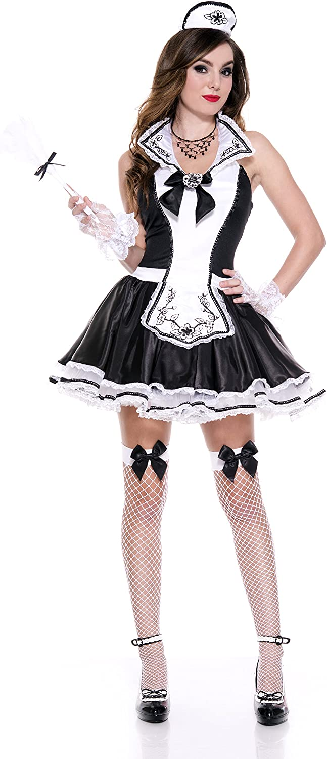 B00VT1LBDE Music Legs Women's Elegant French Maid, Black/White, X-Small 81wcKzc9NCL