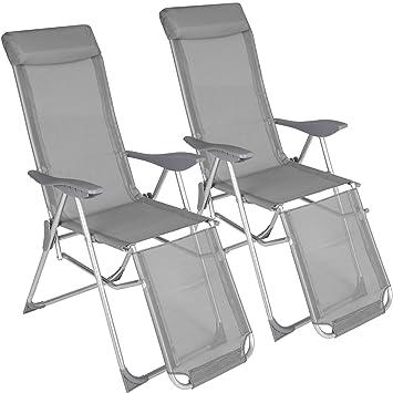 TecTake 2X Sillón de Aluminio Plegable de Jardin | Respaldo y Parte de los pies Ajustable en 5 Posiciones | (Largo x Ancho x Alto): Aprox. 146,5 x 59 ...