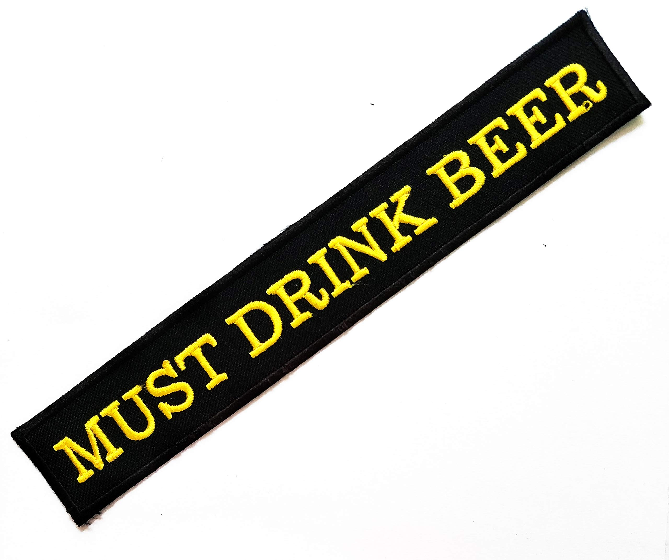 Nipitshop Patches Black Yellow Must Have Beer Words