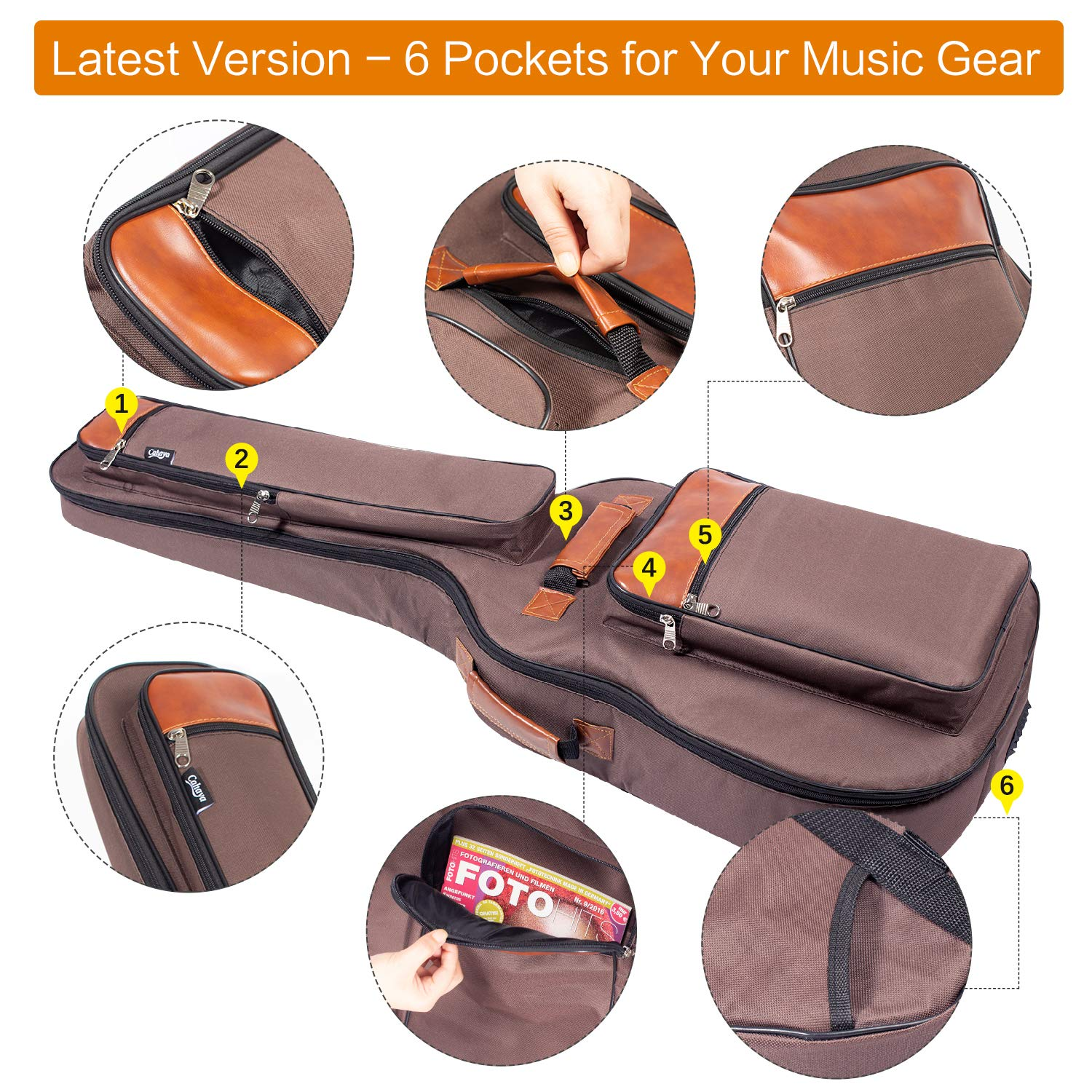 CAHAYA Guitar Bag 40 41 42 Inches 6 Pockets [Upgraded Premium Version] Guitar Case Waterproof Oxford Cloth 0.5 Inch Extra Thick Sponge Overly Padded with 5 Picks & Holder for Acoustic Classical Guitar by CAHAYA (Image #3)