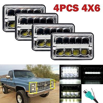4x6 LED Headlight for Trucks Hi/Lo Beam DRL for Peterbilt 379 362 Kenworth T-600 W900b Chevy C10 K10 S10, 180W Total 6000K White Headlight Assembly Sealed Beam H4 Plug H4651 H4652 H4656 H4666 (4PCS): Automotive