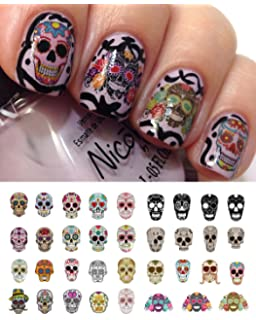 Amazon npw sugar skull nail art stickers beauty sugar skull nail decals assortment 1 water slide nail art decals salon quality prinsesfo Gallery