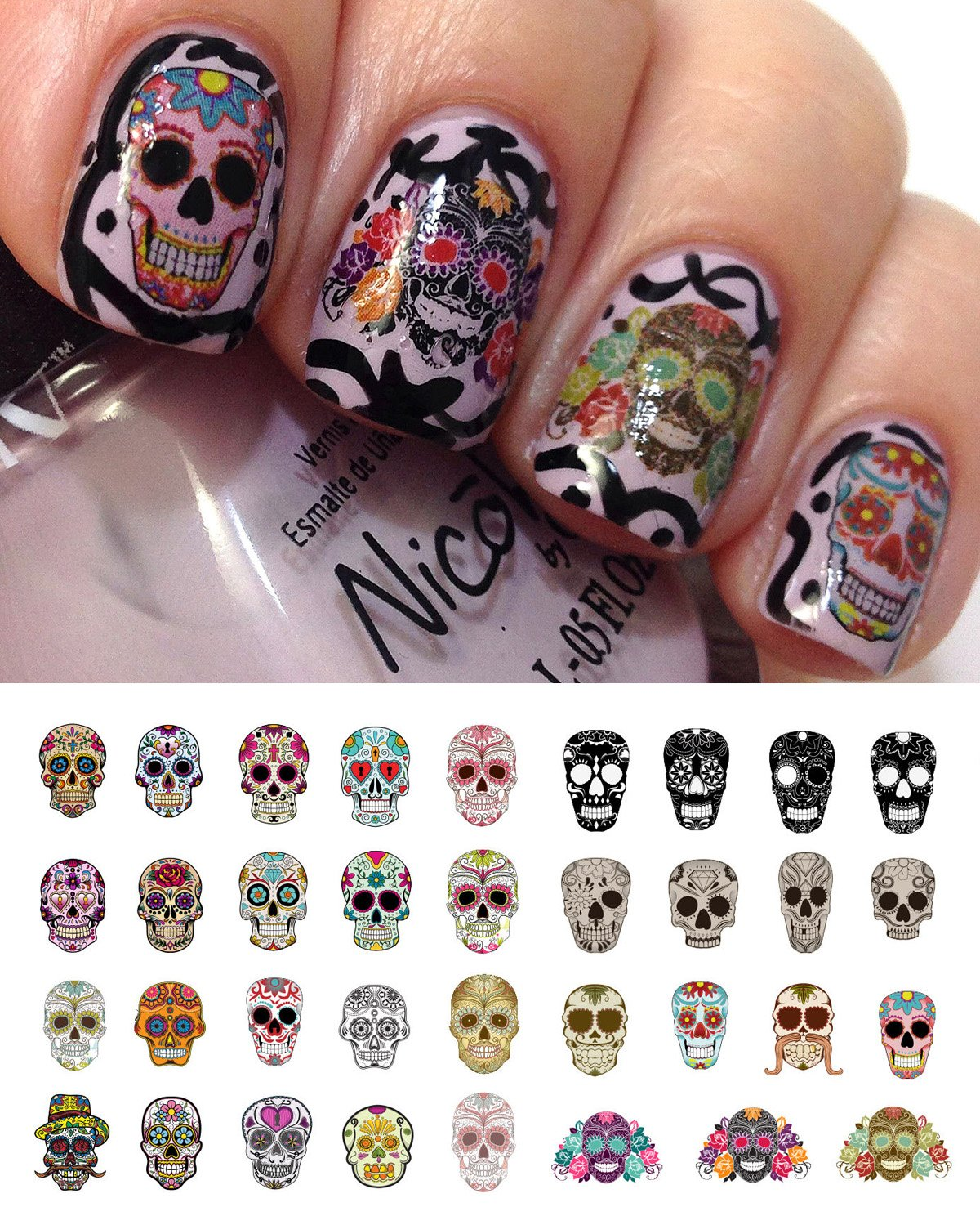 Amazon.com: Sugar Skull Nail Decals Assortment #1 Water Slide Nail ...