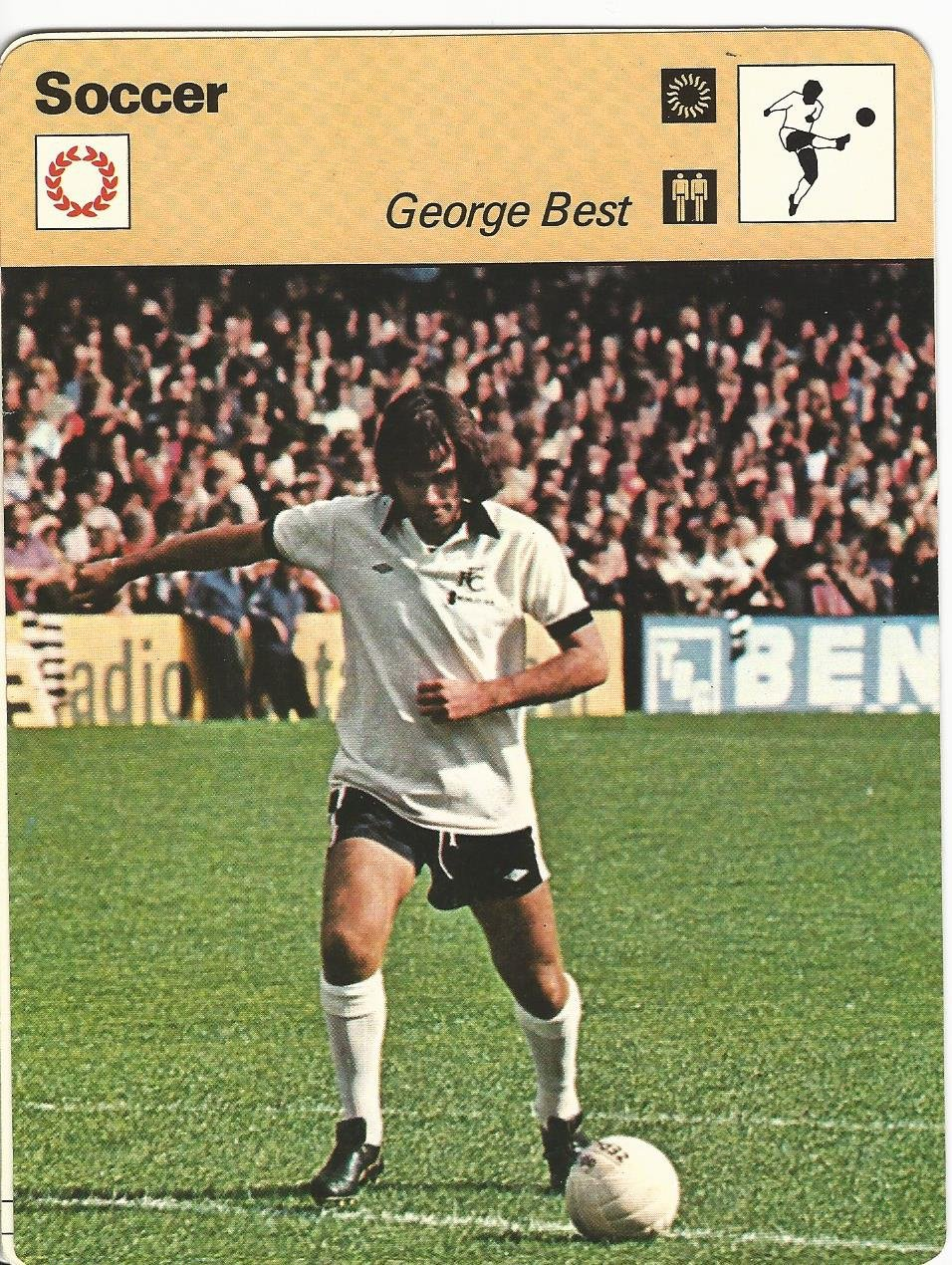 1977-79 Sportscaster Card, 34.22 Soccer, George Best, Ireland