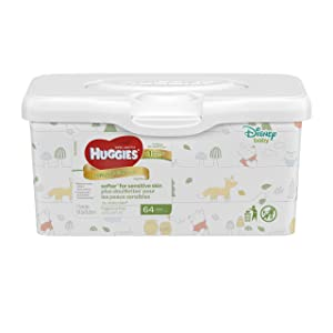 HUGGIES Natural Care Unscented Baby Wipes, Sensitive, Water-Based, Refillable Pop-Up Tub, 64 Count Total