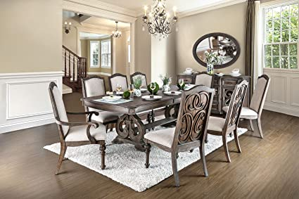 Arcadia Transitional Style Rustic Natural Tone Finish 9 Piece Dining Table  Set