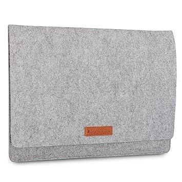KANVASA Funda Ordenador 15-15.6 Pulgadas Fieltro Gris - Bolso Notebook Portatil Premium Logo Marca en Piel marrón - Estuche para Samsung ASUS Acer ...
