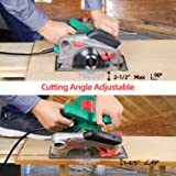 """Circular Saw, HYCHIKA 12.5A Electric Saw with Fixed Speed 4700RPM, 2Pcs Blades(24T+ 40T): 7-1/2"""", Max Cutting Depth 2-1/2""""(90°), 1-4/5""""(45°), Laser Guide, Pure Copper Wire Motor, 10Ft Power Cord"""