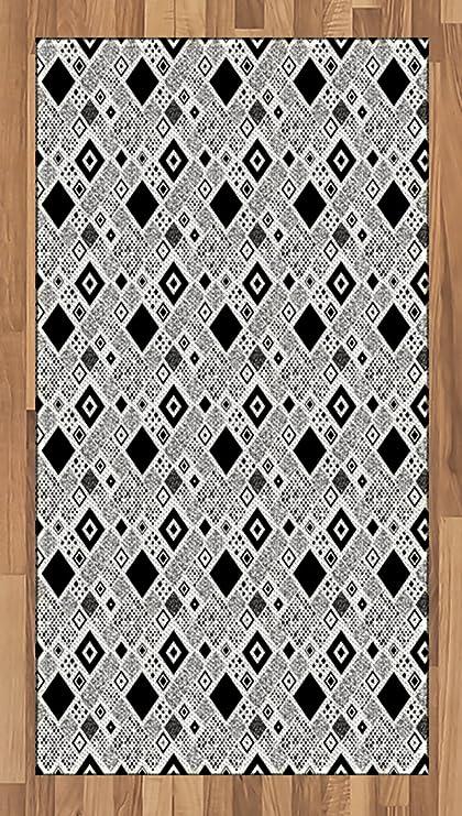 Amazon Com Ambesonne Black And White Area Rug Geometrical Diagonal