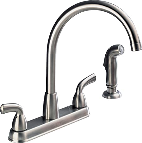 Peerless P99578LF-SS-D Choice Two Handle High Arc Kitchen Faucet ...