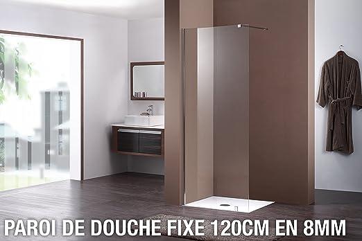 Mampara de ducha fija 120 cm en 8 mm: Amazon.es: Hogar