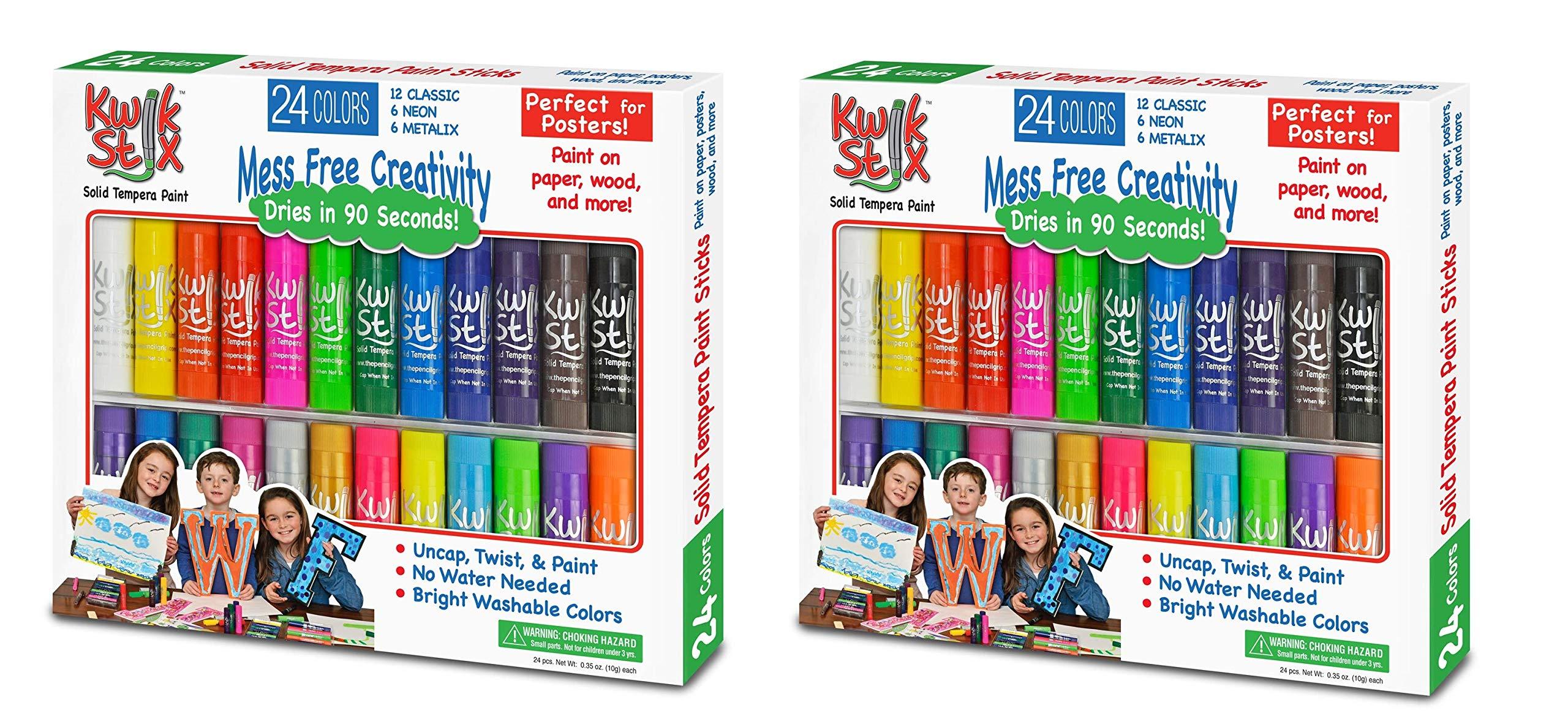 The Pencil Grip KUGAKY TPG-604 Kwik Stix Tempera Paint Pack of 24, Grade:Kindergarten to 12, Assorted (2 Packs of 24)