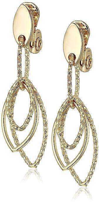 71581fdf89b73 Anne Klein Women's Gold Diamond Textured Linear EZ Comfort Clip Earrings,  Size 0