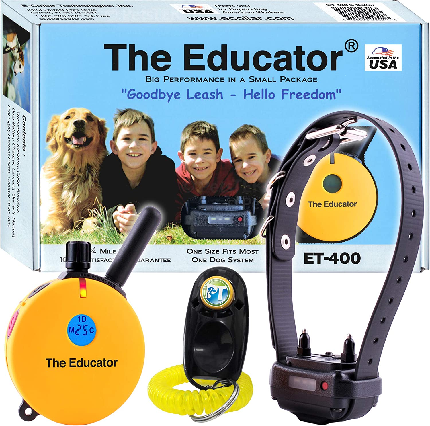 Bundle of 2 Items – E-Collar – ET-400 – 3 4 Mile Rechargeable Remote Waterproof Trainer Educator – Static, Vibration and Sound Stimulation Collar with PetsTEK Dog Training Clicker