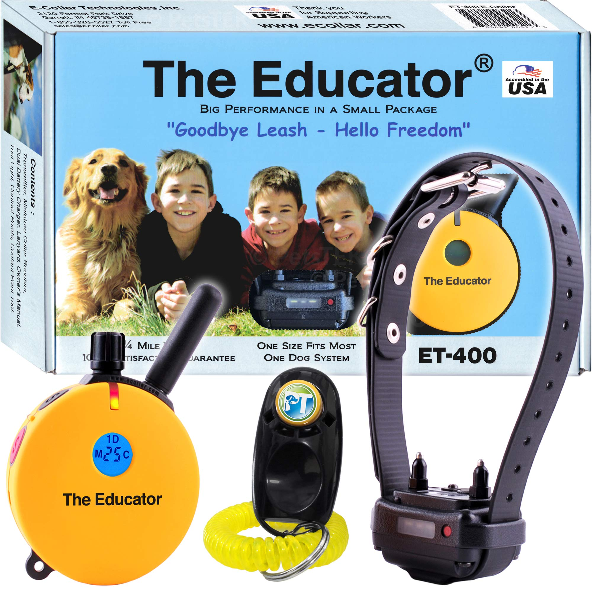 Bundle of 2 Items - E-Collar - ET-400 - 3/4 Mile Rechargeable Remote Waterproof Trainer Educator - Static, Vibration and Sound Stimulation Collar with PetsTEK Dog Training Clicker by Ecollar