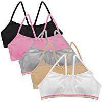Popular Girl's Cotton Cami Crop Bra with Racerback Straps - 5 Pack