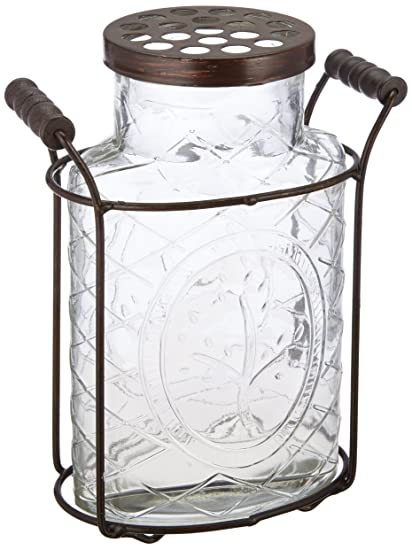 Amazon Creative Co Op Glass Vase With Metal Flower Lid Large