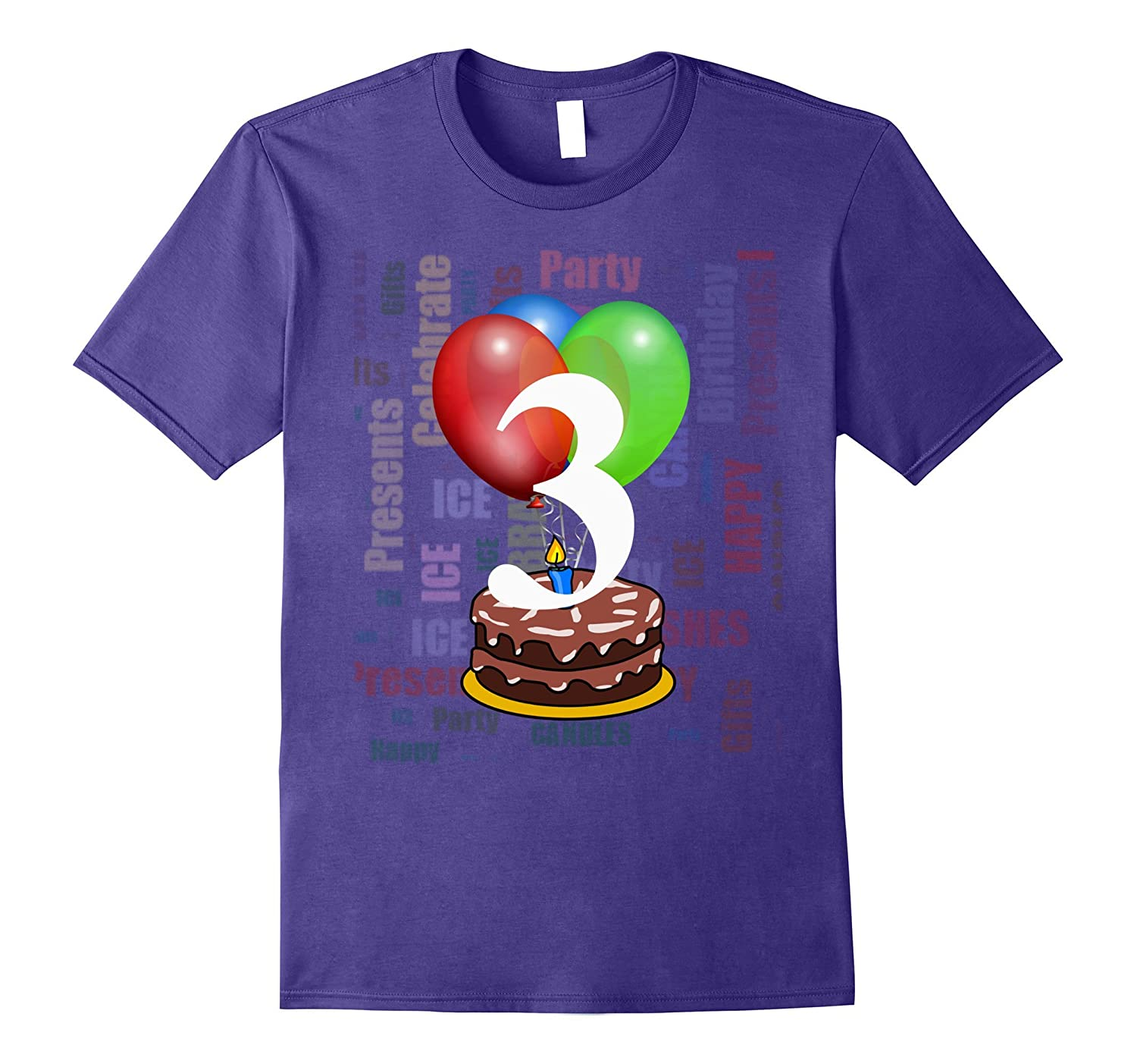 3 Birthday T-Shirt Festive Word Cloud Design Tee-TH