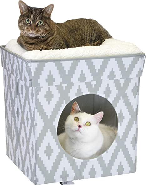 Kitty City Large Cat Bed Stackable Cat Cube Indoor Cat House Cat Condo Cat Scratcher Cushion Pet Supplies