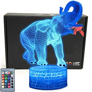 TriPro Elephant Wild Animals Illusion Room Decor Night Light Desk Lamp with 16 Colors Change, Smart Touch & Remote Control Bedroom Decorations Gifts for Girls, Men, Women, Kids, Boys, Teens