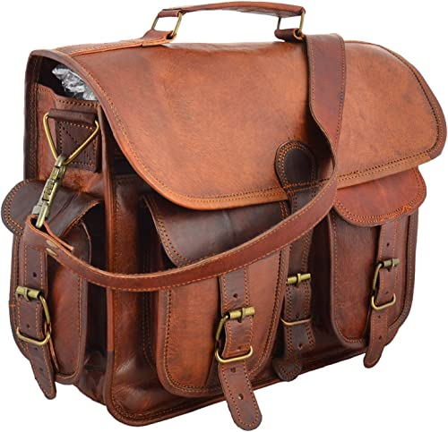 15 leather messenger bag laptop case office briefcase gift for men computer distressed shoulder bag