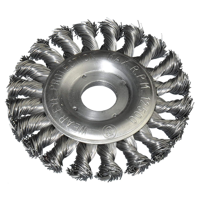 3x Scheibenb/ürste 115mm /Ø gezopft f/ür Winkelschleifer 22,2mm Bohrung Kegelb/ürste Drahtb/ürste