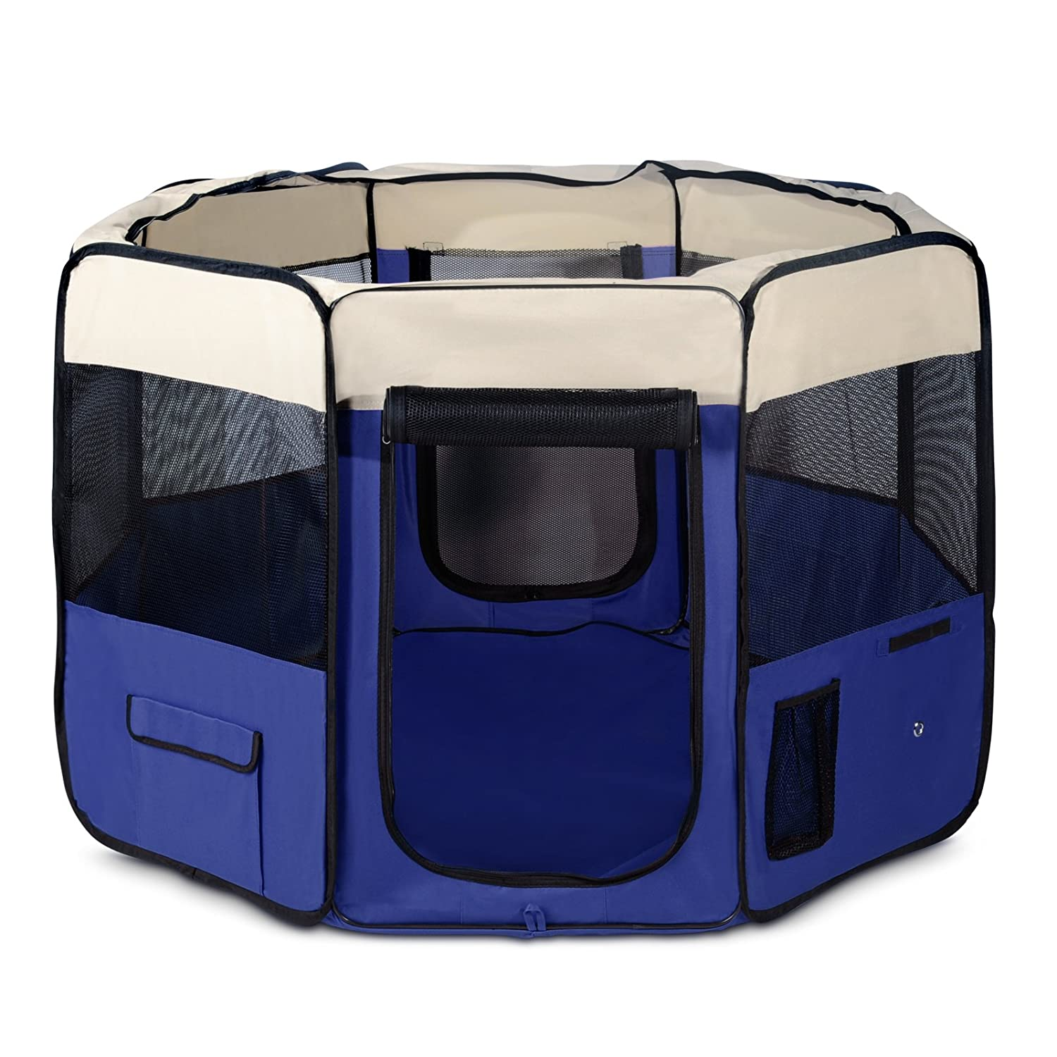 Pet Dog Playpen, i.Pet Portable Soft Dog Exercise Pen Kennel with Carry Bag for Puppy Cats Kittens Rabbits,bluee,XL
