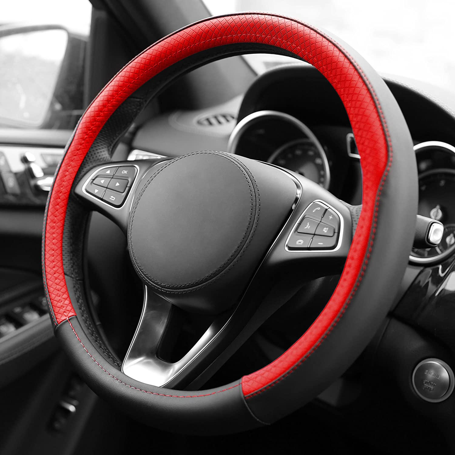 FH Group FH2009PURPLE Geometric Chic Genuine Leather Steering Wheel Cover, 1 Pack