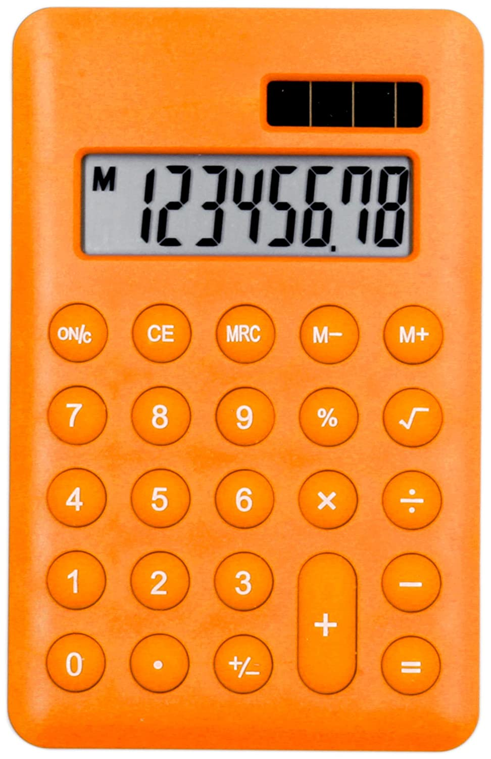 ORANGE CALCULATOR - HAND HELD POCKET - School/Home/Office - Solar/Battery - Basic Fully Functional - 8-Digit Display 10 Nice Things Limited