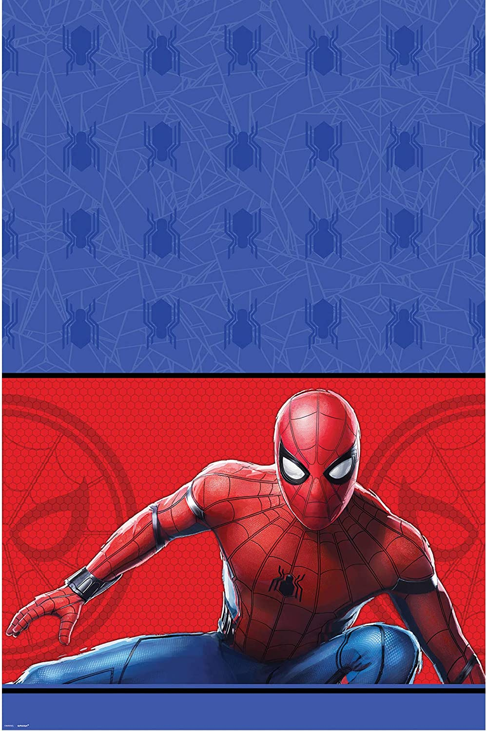 """Amscan 572389 Spider-Man: Far From Home Paper Party Table Cover, 54"""" x 96"""", 1 piece"""