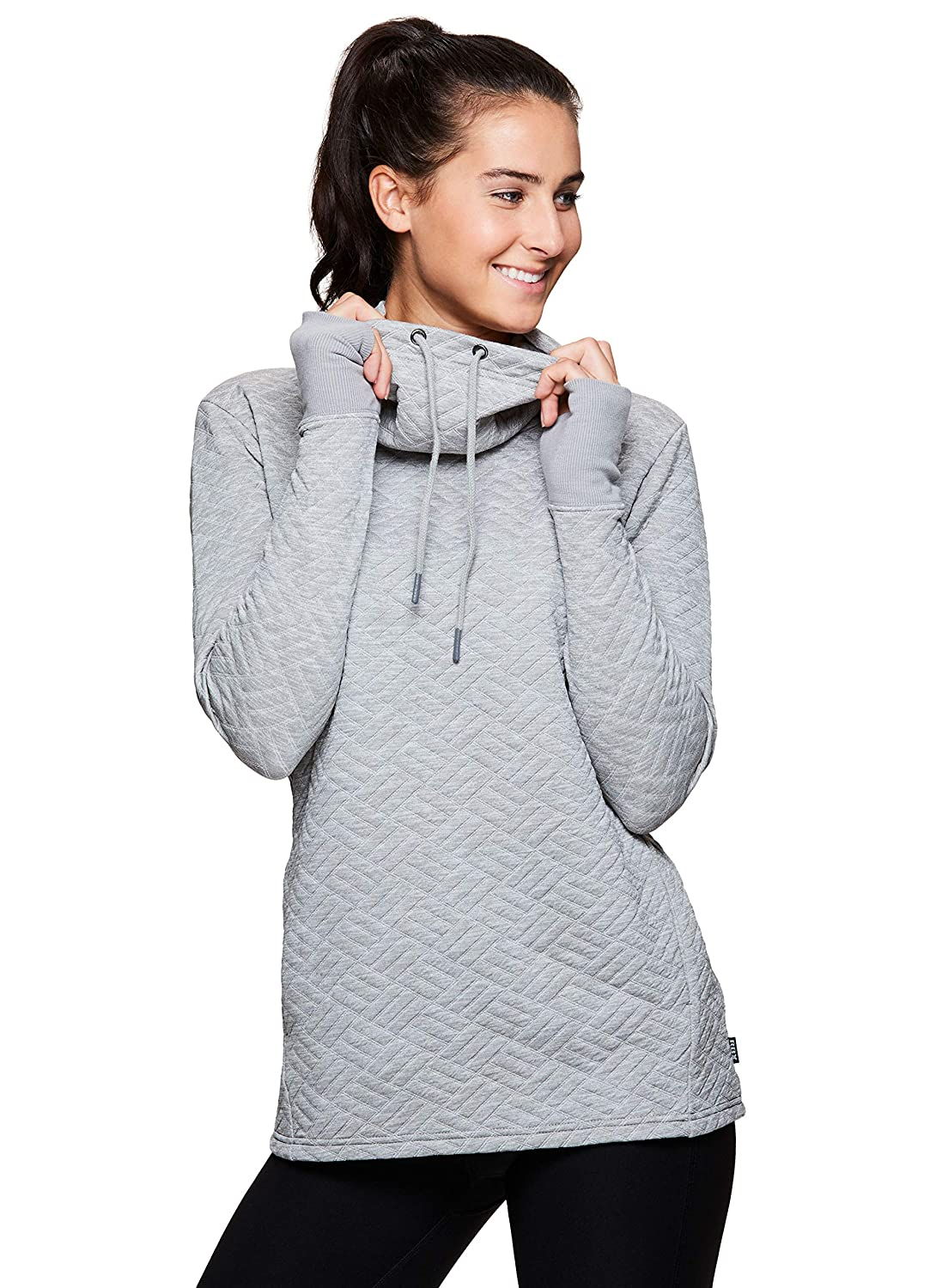 RBX Active Womens Ultra-Soft Quilted Cowl Neck Pullover