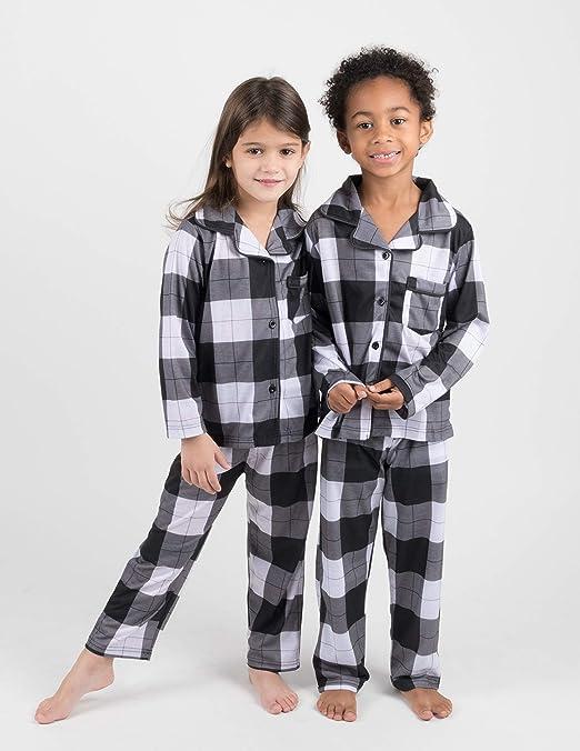 Schbbbta Boys Girls Plaid Button Down Flannel Cotton Pajamas Sets Pjs 10 Years 6 Months