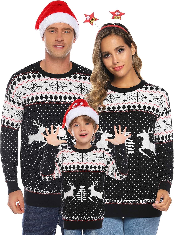 ibrou Jersey Suéter de Navidad Familia para Mujer Hombre y Niños,Jerséis de Punto Ciervo Cuello Redondo Cómodo y Cálido