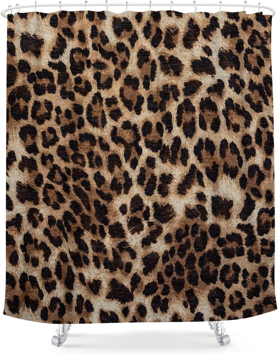 LIGHTINHOME Leopard Print Shower Curtain 60Wx72H Inch Wild Safari Animal Brown Panthera Leopard Skin Pattern Fabric Waterproof Bathroom Home Decor 12 Plastic Hooks