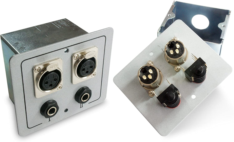 2 x XLR y 6,35 mm Micrófono Salida Pared Face Plate: Amazon.es: Electrónica