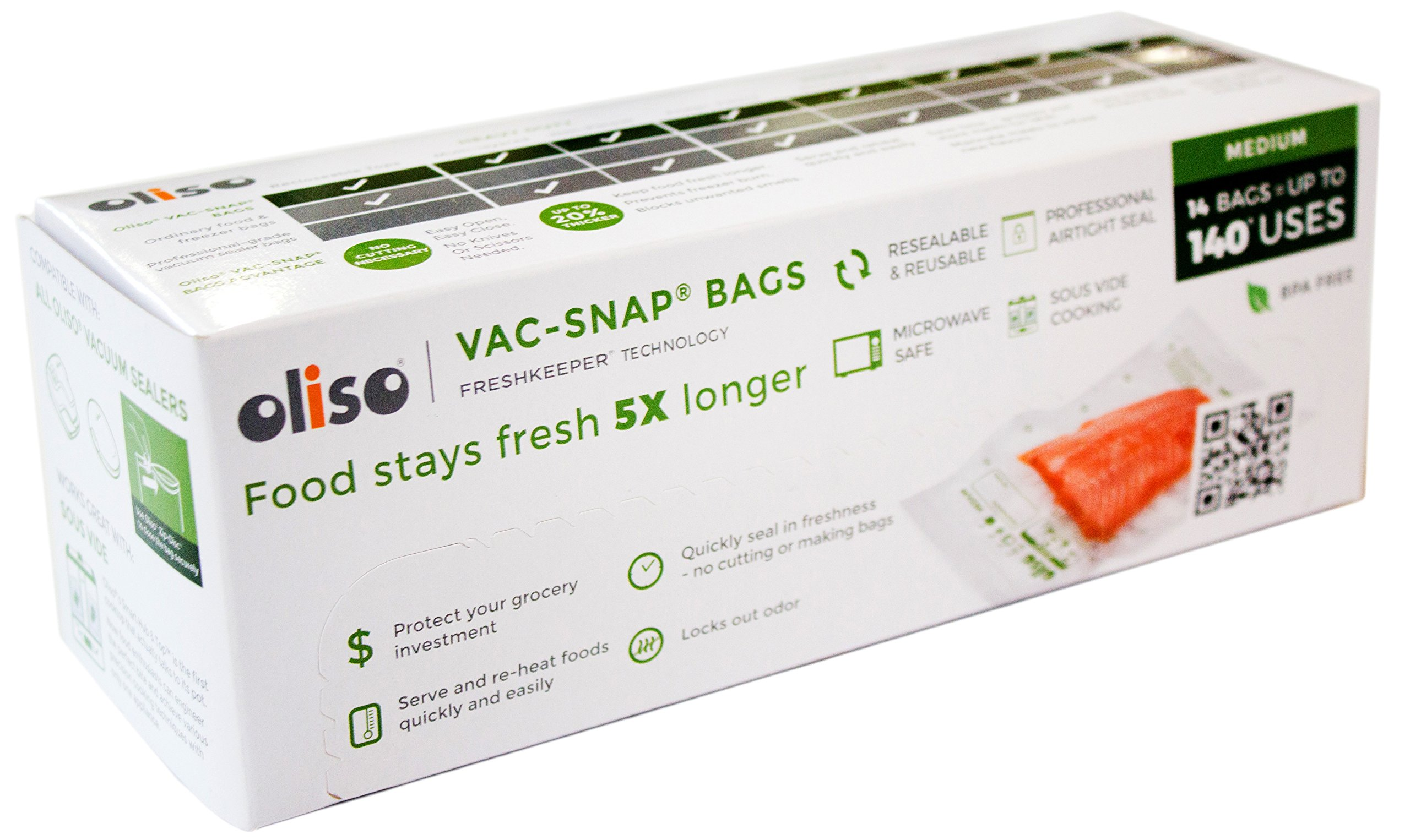 Oliso Pro VAC-SNAP Bags for Oliso Vacuum Sealers, Medium, 1 Quart, 14 Bags by Oliso