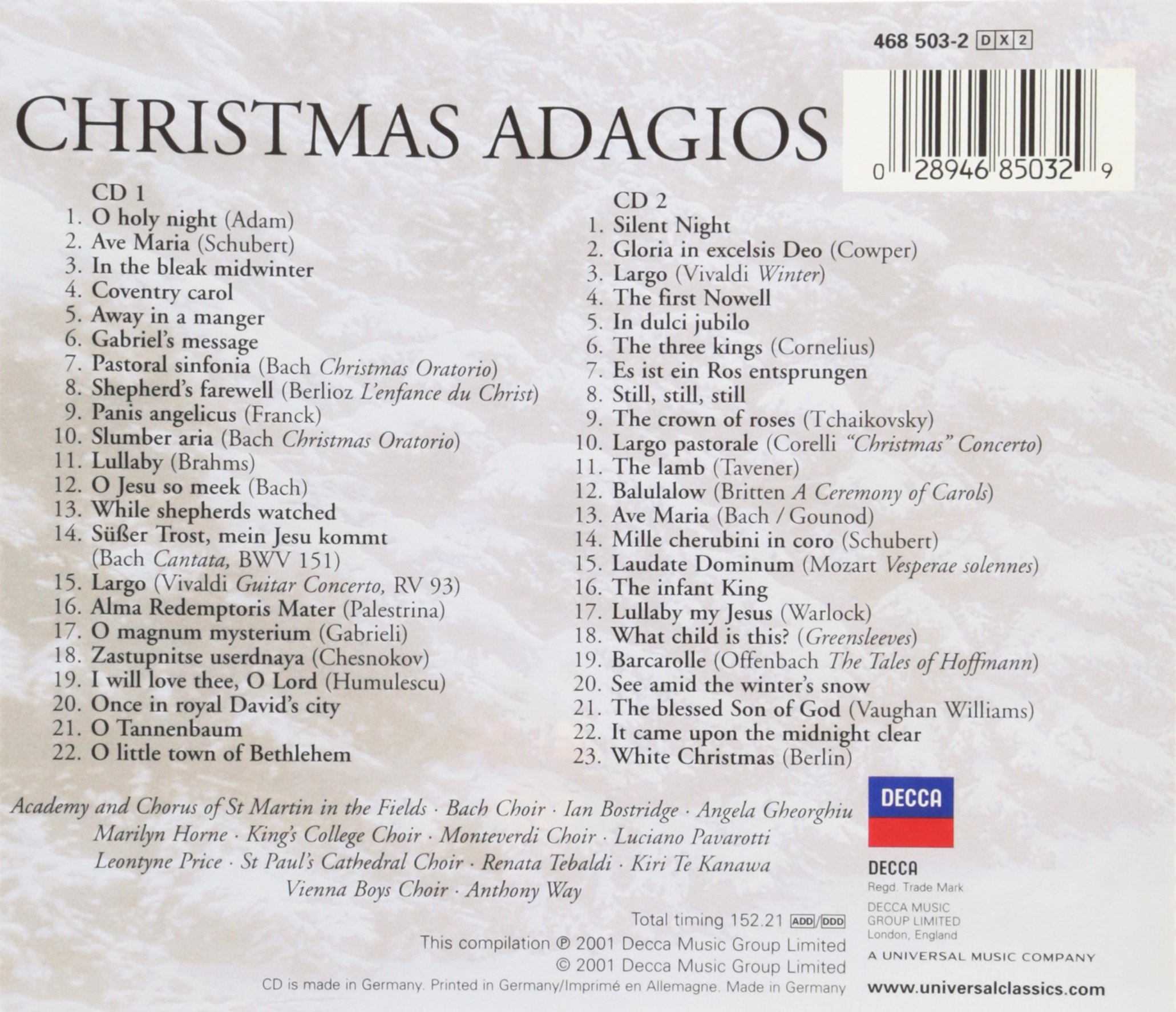 Christmas Adagios by Decca