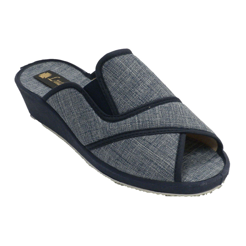 Made in Spain Tacco a Punta Aperta da Donna e Tacco Laterale Elastico Ludiher Jeans-
