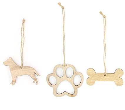 pitbull christmas ornament dog lover gifts wooden christmas ornaments 3 piece bundle - Wooden Christmas Ornaments