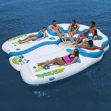 Tropical Tahití isla flotante 7 persona inflable Balsa ...