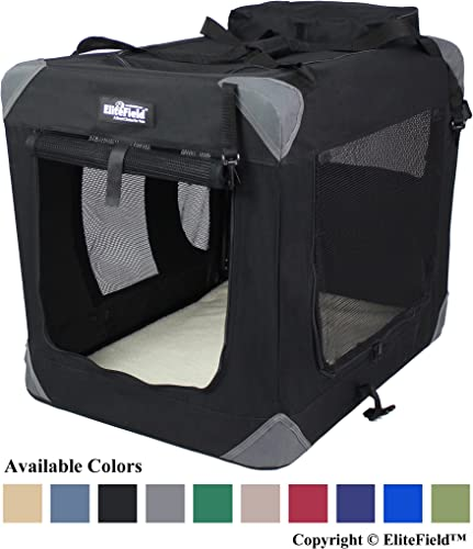 EliteField 3-Door Folding Soft Dog Crate, Indoor Outdoor Pet Home, Multiple Sizes and Colors Available