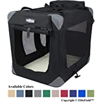 "EliteField 3-Door Folding Soft Dog Crate, Indoor & Outdoor Pet Home, Multiple Sizes and Colors Available (20"" L x 14"" W x 14"" H, Black)"